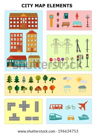 City map elements including houses roads trees weather different signs transport car bus airplane bicycle ship boat - stock vector