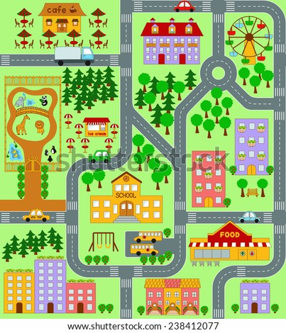 City Map for Kids seamless vector pattern - stock vector