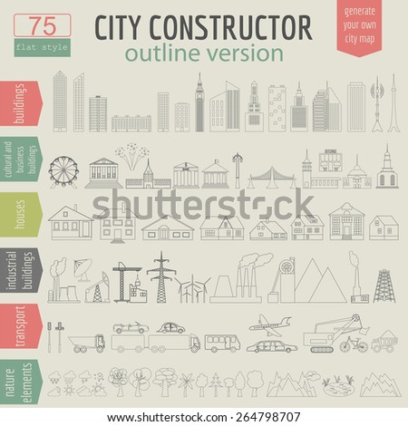 City map generator. Elements for creating your perfect city. Outline version. Vector illustration - stock vector