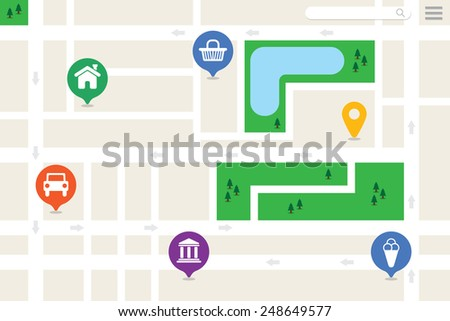 city map of a generic city with no names - stock vector