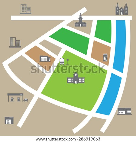 City map road and direction vector - stock vector