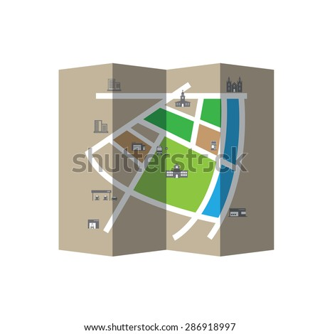 City map road and direction vector folded - stock vector