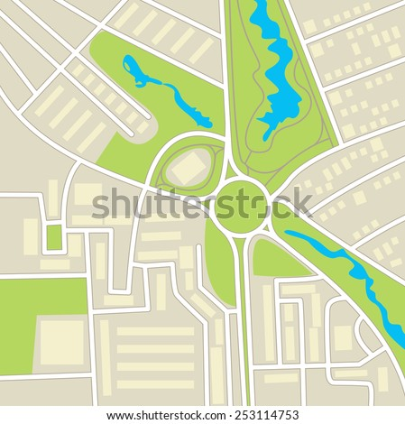 City map. Schematic cartographic representation of roads, homes, vegetation and ponds - stock vector