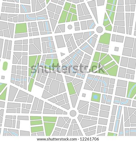 City map. Seamless vector wallpaper. All elements and colors easy for select and change on separated layers - stock vector