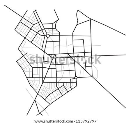 city map  - vector scheme of roads - stock vector
