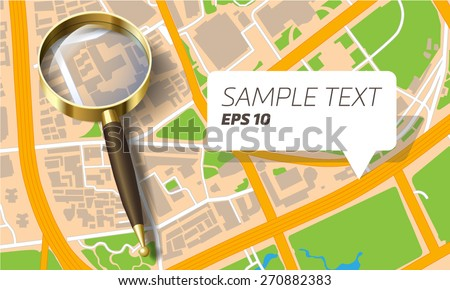 city map with a magnifying glass - stock vector