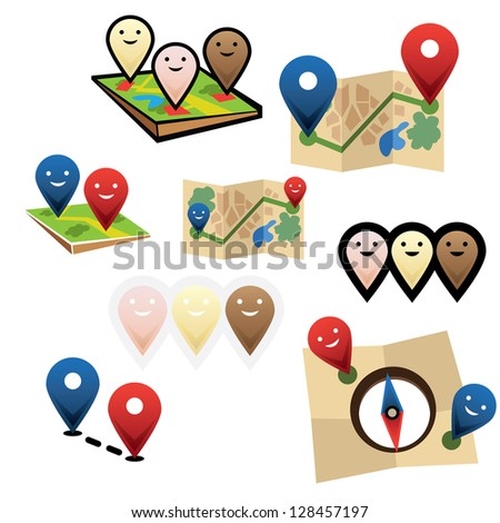 City map with gps map smile pointers icons vector - stock vector