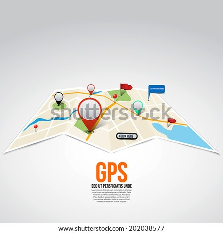 City Map With Marker, flags, pins, balloons for message and button. Vector - stock vector