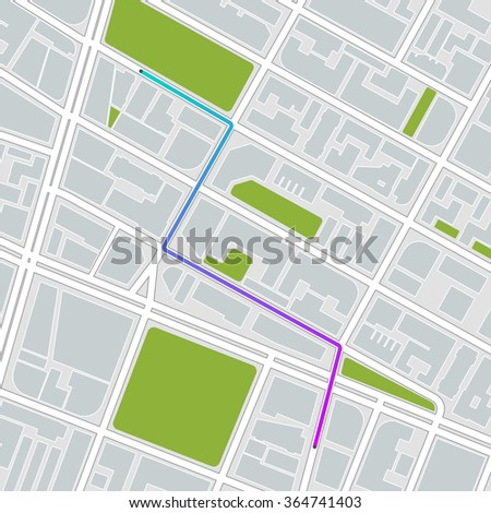 city map with route. vector illustration  - stock vector