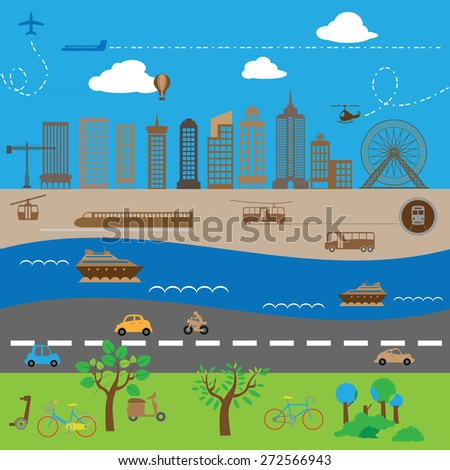 City mass air water and railway transportation - stock vector