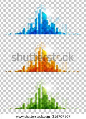 city modern architectural vector set - stock vector