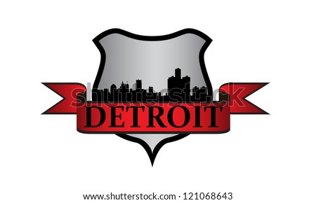City of Detroit crest with high-rise buildings skyline - stock vector