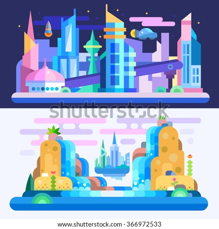 City of future!  Amazing alien-look landscape and city scape with floating town, skyscrapers, flying cars, waterfalls on another planet. Flat vector illustration set.  - stock vector