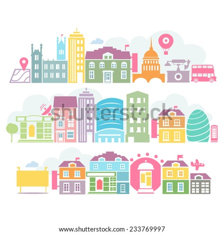City of London colorful popular silhouettes of buildings - stock vector