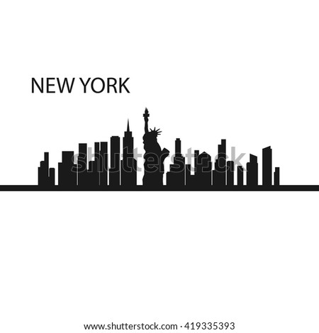 City of New York. New York vector illustration. New York in black and white illustrations. One of the largest cities in America, New York. - stock vector
