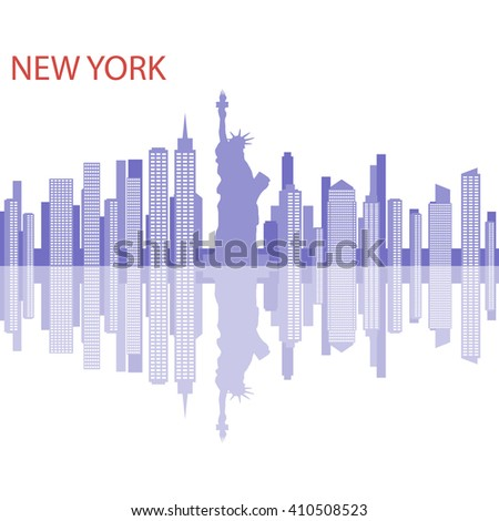 City of New York. New York vector illustration. One of the largest cities in America, New York. - stock vector