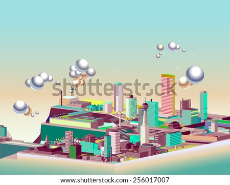 city of tomorrow isometric. background vector. skyscrapers, factories, and cloud - stock vector