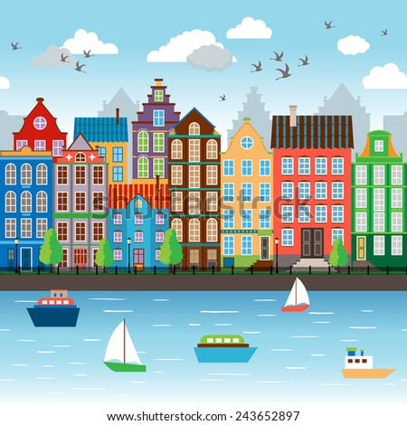 City on river. Embankment near the beautiful architectural ensemble. Vector illustration - stock vector