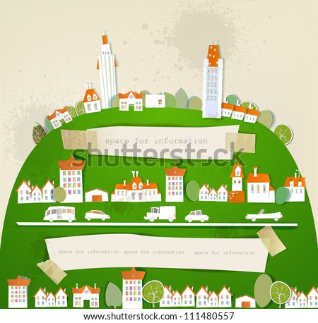 City on the green hill - stock vector
