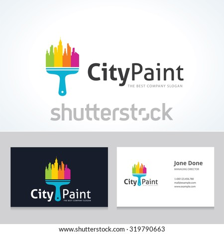 City paint,home logo,city logo,painter,painting,arts,property,real estate logo,vector logo template - stock vector