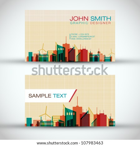 City Panorama Business Card Set | EPS10 Vector Design - stock vector