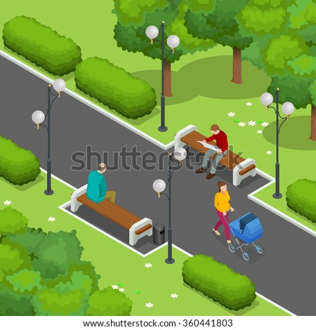 City park. Beautiful young mom pushing stroller with baby. Men resting on a bench. The man reading the newspaper. Flat 3d Vector isometric illustration. - stock vector