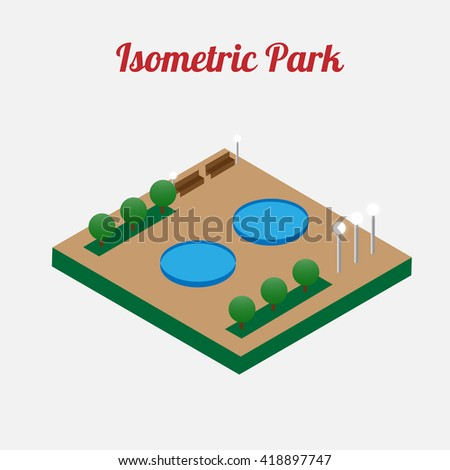 City park furniture. City map elements. Isometric infographic. Isometric vector.  - stock vector