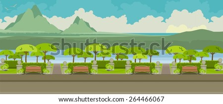city park on the horizontal bar with benches and trees  - stock vector