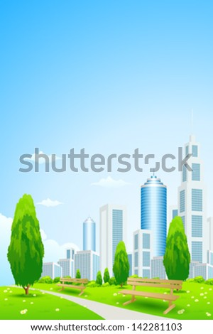 City Park with Trees, Flowers, Benches and Footpath - stock vector