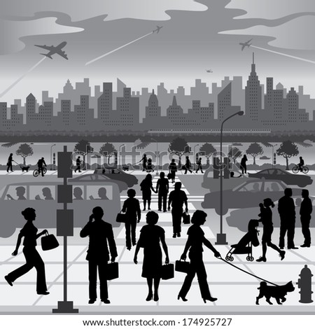City People on the Move Silhouettes of people walking and driving in vehicles, in front of a generic city on a river with skyscrapers, railway, ships and aircraft. - stock vector