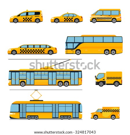 City public transport icons flat set. Urban vehicles. Train and bus, tram and car, vector illustration - stock vector