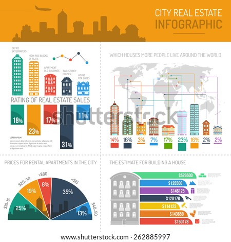 City real estate infographics set with house buildings world map and charts vector illustration - stock vector