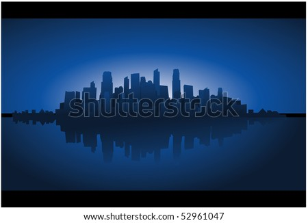 City reflection on water - stock vector