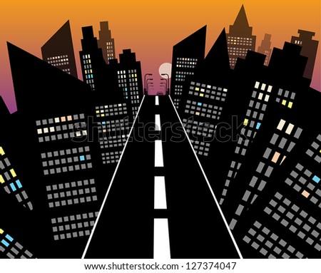 City road at night, vector illustration - stock vector