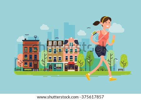 City run. Lovely vector flat design on fitness workout running woman with urban city street background | Sport friendly smiling female character running with earphones on - stock vector