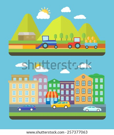 City scene where the residents are very conscious about their environment and going green concept. Farm village landscape life background with item icons in flat design style - stock vector