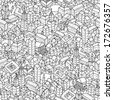 City seamless pattern is repetitive texture with hand drawn houses. Illustration is in eps8 vector mode. - stock vector
