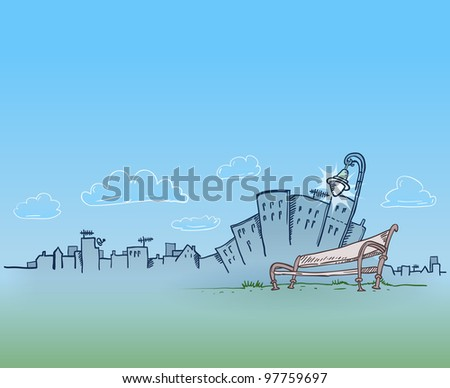 City Silhouette With Lamp and Bench - stock vector