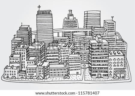 City Sketch - stock vector