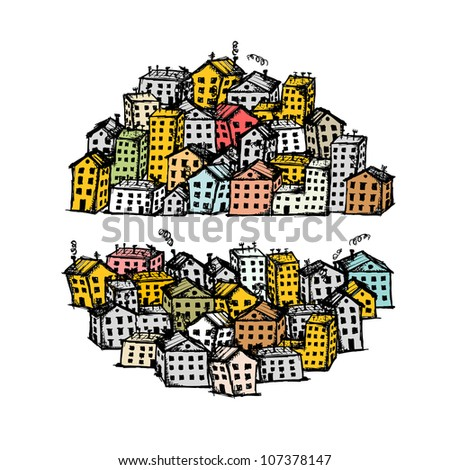 City sketch, background for your design - stock vector