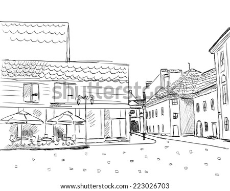 City sketch. vector illustration - stock vector