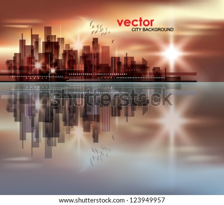 City skyline at night with reflection in water - stock vector