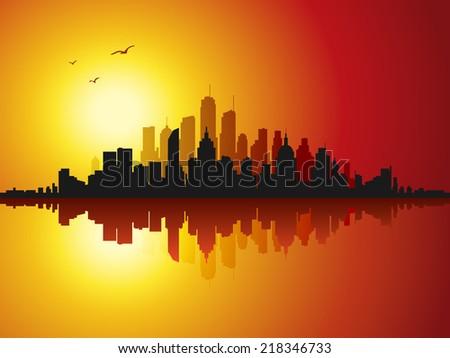 City skyline at sunset  - stock vector