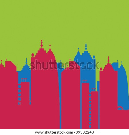 city skyline buildings vector set 3 - stock vector