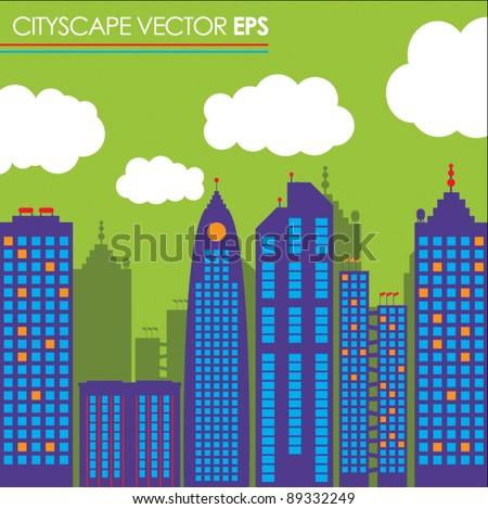 city skyline buildings vector set 1 - stock vector