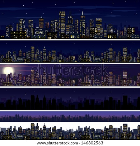 City Skyline. Collection of Night Skyline Illustrations. - stock vector