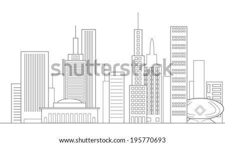 City Skyline In Gray and white, background, vector - stock vector