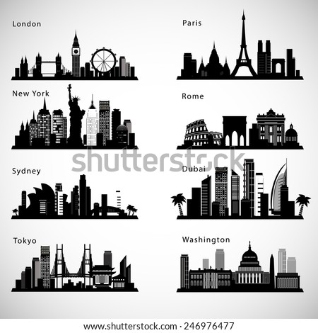 City skyline set. Vector silhouettes - stock vector