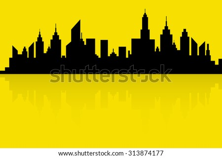 City Skyline Silhouette Vector In Retro Colors - stock vector