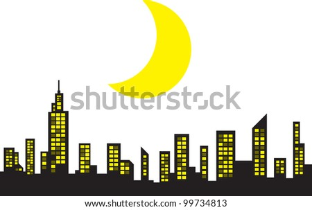 City Skyline with large crescent moon - stock vector
